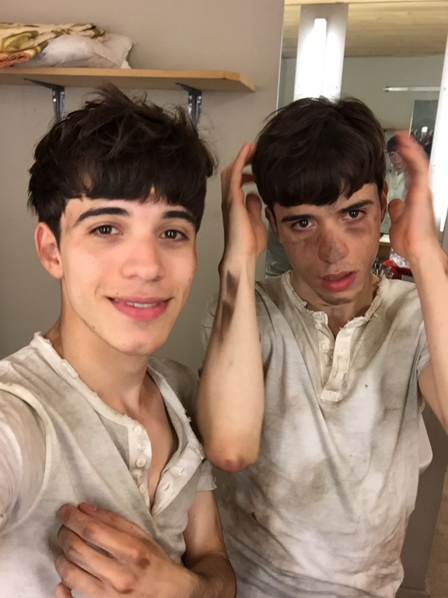 Fellipe Pigatto as Eric, and Thiago Pigatto as Sam backstage on the Lord of the Flies Tour.
