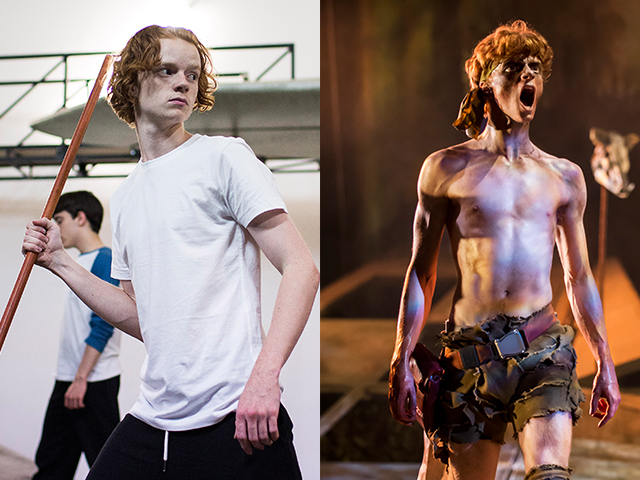 Freddie Watkins in rehearsals and on stage in Lord of the Flies.