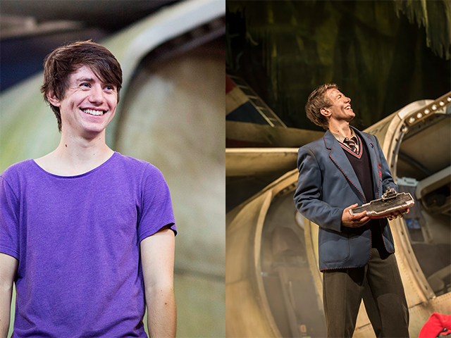 Luke Ward-Wilkinson in rehearsals and on stage in Lord of the Flies.